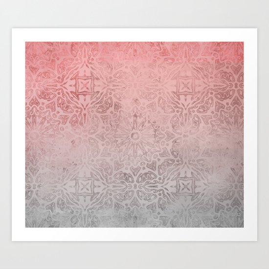 Oriental ornament pattern Rose Quartz Art Print