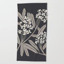 Boho Botanica Black Beach Towel