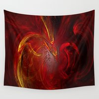phoenix Wall Tapestries featuring Phoenix by Lucia