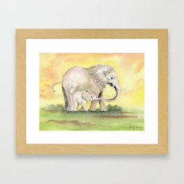 Colorful Mom and Baby Elephant 2 Framed Art Print