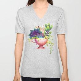 Teacup Succulent Garden Unisex V-Neck