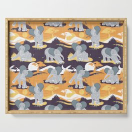 Baby African elephants joy night and day // yellow mustard Serving Tray