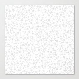 Block Print Silver-Gray and White Stars Pattern Canvas Print