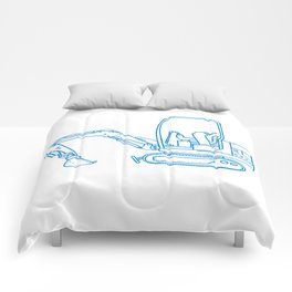 Mechanical Digger Mono Line Comforters