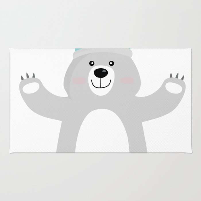 Cute Bear in Viking Hat - National Tartan Day Rug