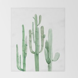 Three Amigos White + Green by Nature Magick Throw Blanket