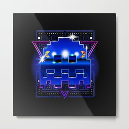 Pac-Retrowave Metal Print