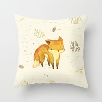 cuddle Throw Pillows featuring Lonely Winter Fox by Teagan White