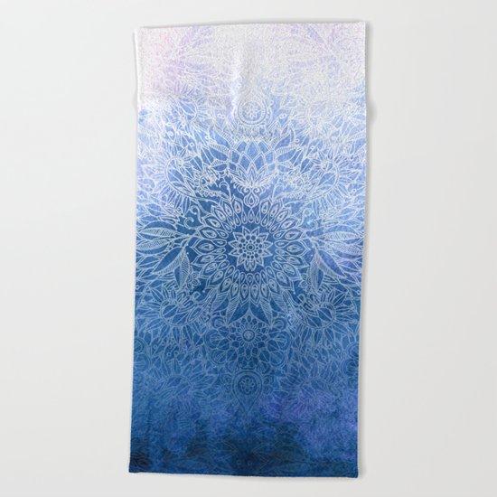 Enchanted Indigo - watercolor + doodle Beach Towel