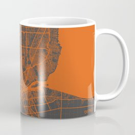 Detroit map orange Coffee Mug