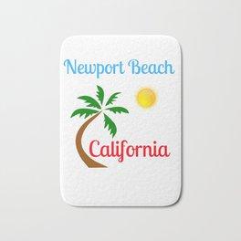 Newport Beach California Palm Tree and Sun Bath Mat