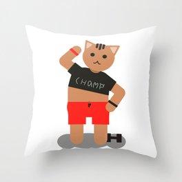 Cat champ doing sport Throw Pillow