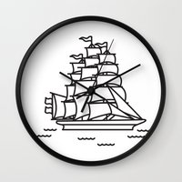 ships Wall Clocks featuring Ships Ahoy! by CaptainChrisP