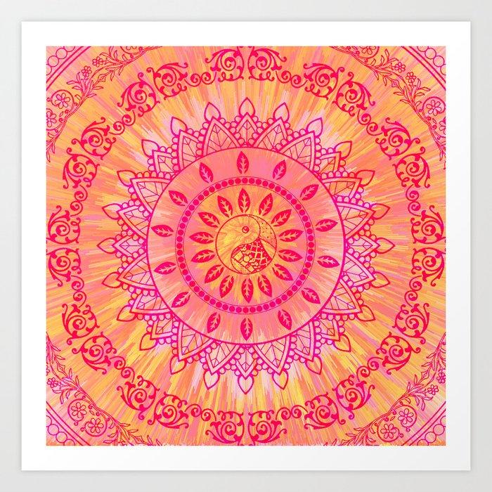 Sun Kissed Mandala Orange Pink Art Print