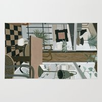 cafe Area & Throw Rugs featuring View from the Cafe by Yuliya
