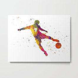 Soccer player isolated 05 in watercolor Metal Print