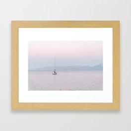 Boat Sunset Pink Crete, Greece   Travel Photography Art Pink Colors Framed Art Print