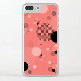 Coral Dots Clear iPhone Case
