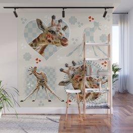 Hearty Giraffes Wall Mural