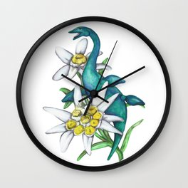 E is for Elasmosaur and Edelweiss Wall Clock