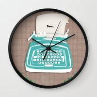 typewriter Wall Clocks featuring typewriter by WreckThisGirl