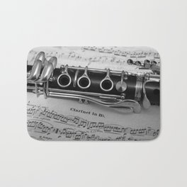 B Flat Clarinet in Black & White Bath Mat