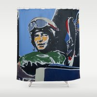 pilot Shower Curtains featuring Fighter Pilot by Rob Howell