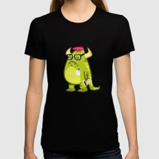 Monster Nerd Womens Fitted Tee MEDIUM Black