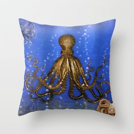 Octopus' Lair - colorful Throw Pillow