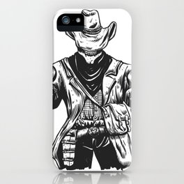 Wild cowboy skeleton - western skull cartoon iPhone Case