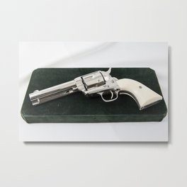 1886 Nickel Single Action Colt .45 Metal Print