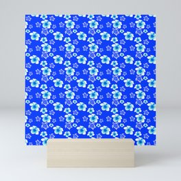 Blue Floral And Turtles Hawaiian Pattern Mini Art Print