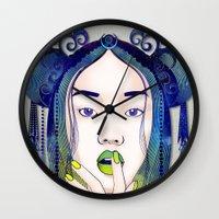 luna Wall Clocks featuring Luna by Stevyn Llewellyn