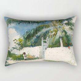 Winslow Homer - A Garden in Nassau,1885 Rectangular Pillow