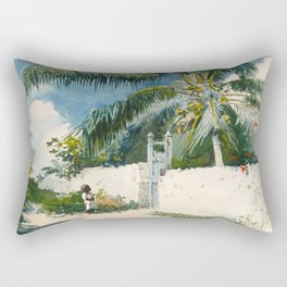 Winslow Homer - A Garden in Nassau,1885 Rectangular Pillow