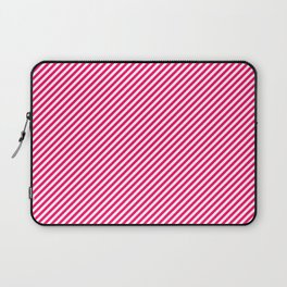 Mini Hot Neon Pink and White Candy Cane Stripes Laptop Sleeve