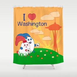 Ernest and Coraline | I love Washington Shower Curtain