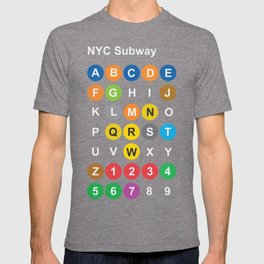 New York City subway alphabet map, NYC, lettering illustration, dark version, usa typography T-shirt
