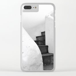 Black and White Stairs Clear iPhone Case