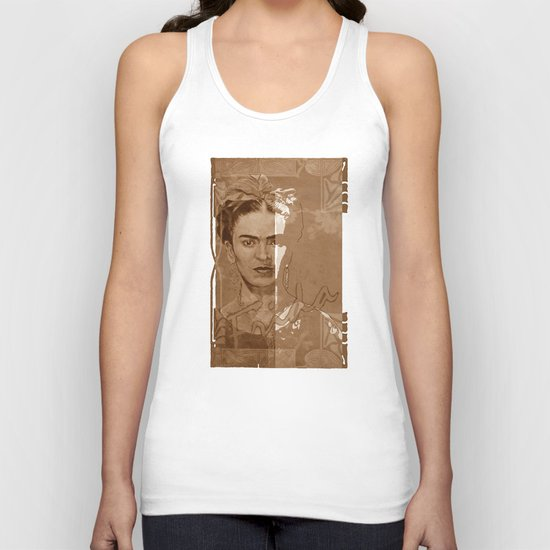 Frida Kahlo - between worlds - sepia Unisex Tank Top