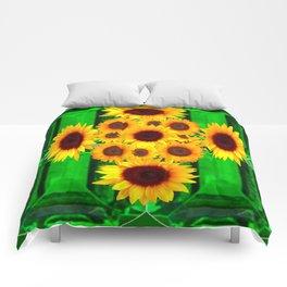 SPRING GREEN EMERALDS & YELLOW FLOWERS  ART Comforters