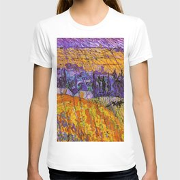 Purple Twilight at French Village of Auvers-sur-Oise, France in the Rain by Vincent van Gogh T-shirt
