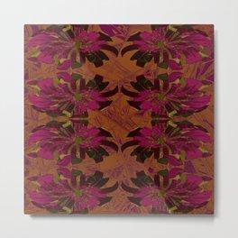 Boho Metallic Flowers- Orange and Pink Decoupage  Metal Print