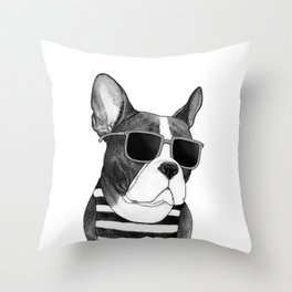 Frenchie Summer Style b&w Throw Pillow