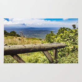 Wooden Guard Rail Fence at a Lookout Point on Mombacho Volcano, Nicaragua Rug