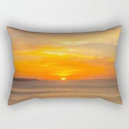 Sunset Coast with Orange Sun and Birds Rectangular Pillow
