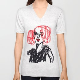 red hair girl Unisex V-Neck