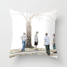 tree plus people Throw Pillow