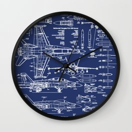 F-18 Blueprints Wall Clock