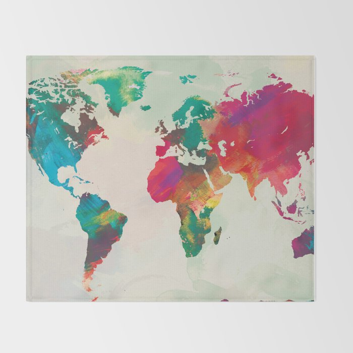 Watercolor world map throw blanket by champagne society6 watercolor world map throw blanket gumiabroncs Images